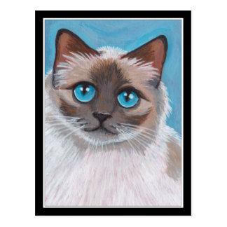 Pintura observada azul del retrato del gato de tarjeta postal