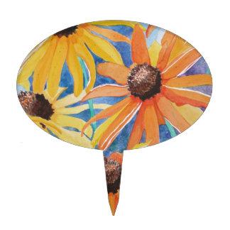 Pintura observada negro de la acuarela de la flor palillos de tarta