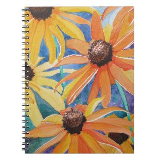 Pintura observada negro de la acuarela de la flor  libro de apuntes con espiral