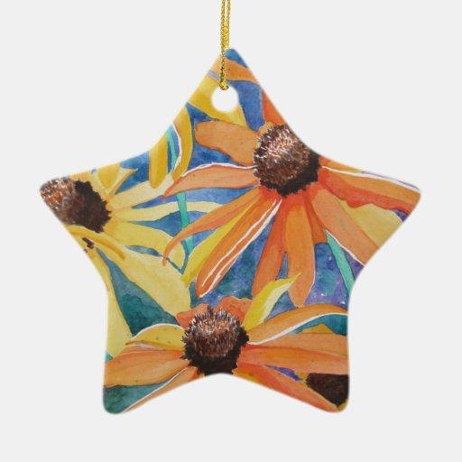 Pintura observada negro de la acuarela de la flor adorno de cerámica en forma de estrella