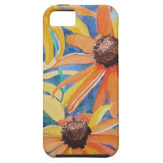 Pintura observada negro de la acuarela de la flor iPhone 5 Case-Mate funda