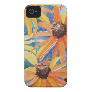 Pintura observada negro de la acuarela de la flor iPhone 4 Case-Mate protectores
