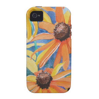 Pintura observada negro de la acuarela de la flor Case-Mate iPhone 4 carcasas