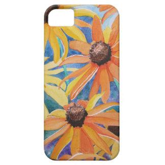 Pintura observada negro de la acuarela de la flor iPhone 5 funda