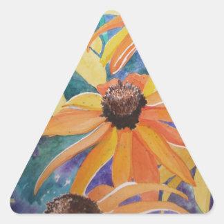 Pintura observada negro de la acuarela de la flor pegatina triangular