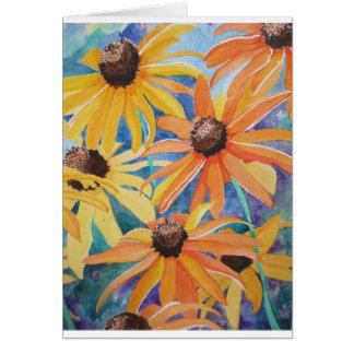 Pintura observada negro de la acuarela de la flor  tarjeta de felicitación