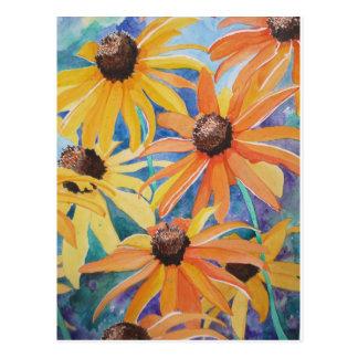 Pintura observada negro de la acuarela de la flor  postal