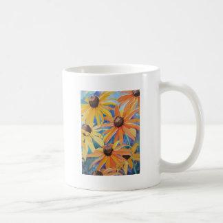 Pintura observada negro de la acuarela de la flor  taza básica blanca