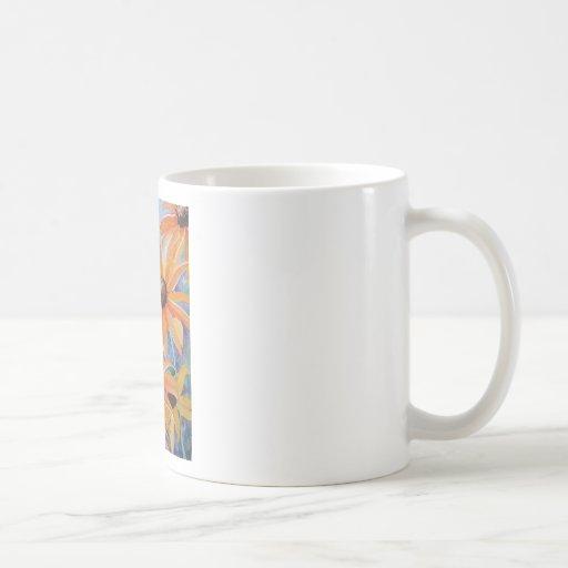 Pintura observada negro de la acuarela de la flor taza clásica