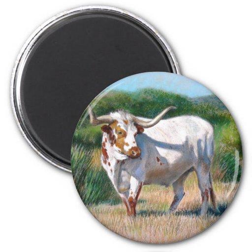 Pintura occidental del arte de Bull del fonolocali Imán Redondo 5 Cm