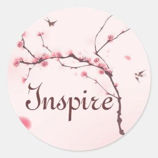 Pintura oriental del estilo, flor de cerezo pegatina redonda