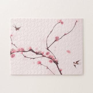 Pintura oriental del estilo, flor de cerezo rompecabeza con fotos