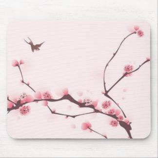 Pintura oriental del estilo, flor de cerezo tapetes de ratón