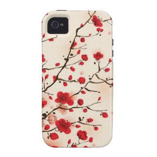 Pintura oriental del estilo, flor del ciruelo en vibe iPhone 4 carcasa