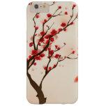 Pintura oriental del estilo, flor del ciruelo en funda de iPhone 6 plus barely there