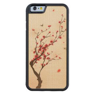 Pintura oriental del estilo, flor del ciruelo en funda de iPhone 6 bumper arce