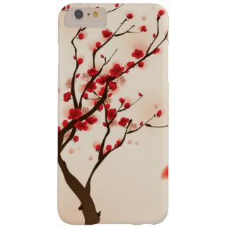 Pintura oriental del estilo, flor del ciruelo en funda para iPhone 6 plus barely there
