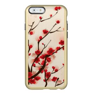 Pintura oriental del estilo, flor del ciruelo en funda para iPhone 6 plus incipio feather shine