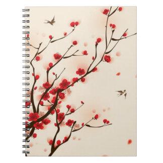 Pintura oriental del estilo, flor del ciruelo en l cuadernos