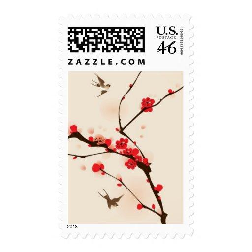 Pintura oriental del estilo, flor del ciruelo en l sellos