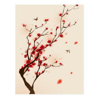 Pintura oriental del estilo, flor del ciruelo en l postal