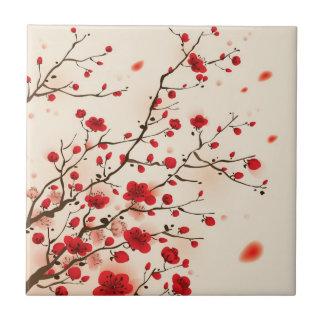 Pintura oriental del estilo, flor del ciruelo en p azulejo cuadrado pequeño