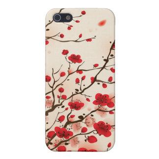 Pintura oriental del estilo, flor del ciruelo en p iPhone 5 carcasas