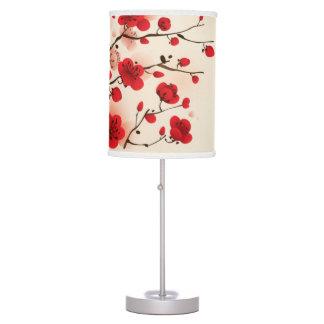 Pintura oriental del estilo, flor del ciruelo en p lámpara de escritorio