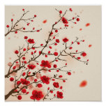 Pintura oriental del estilo, flor del ciruelo en p impresiones