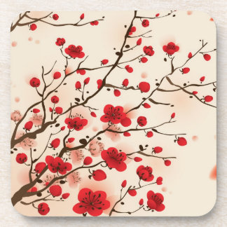 Pintura oriental del estilo, flor del ciruelo en p posavasos de bebida