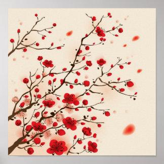 Pintura oriental del estilo, flor del ciruelo en p póster
