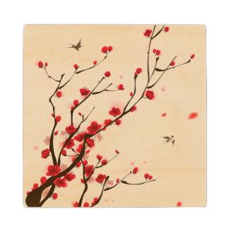 Pintura oriental del estilo, flor del ciruelo en posavasos de madera