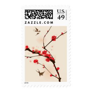 Pintura oriental del estilo, flor del ciruelo en sellos
