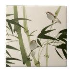 Pintura oriental del estilo, ramas de bambú azulejo cuadrado pequeño