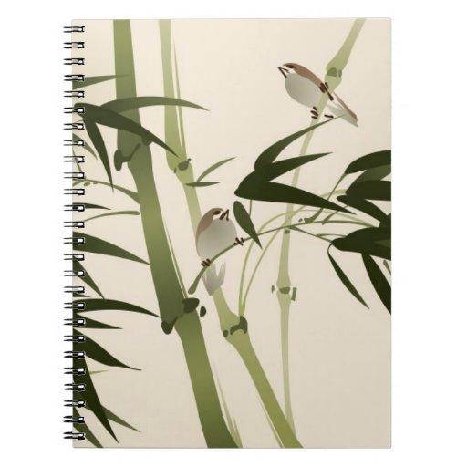Pintura oriental del estilo, ramas de bambú libros de apuntes