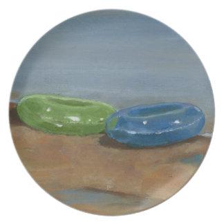 Pintura original: Anillos de la playa en la orilla Platos