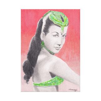 Pintura original, bailarín turco Nejla Ates Impresión En Lienzo