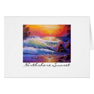 Pintura original de la puesta del sol de tarjeta pequeña