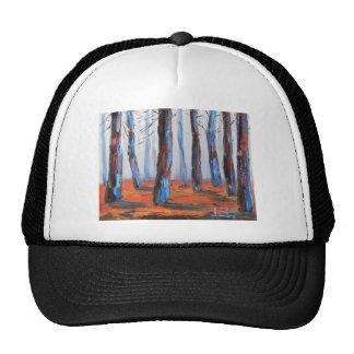 Pintura original de la secoya, árboles de gorros