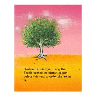 Pintura original del árbol del arte hermoso del pa flyer a todo color