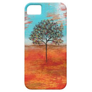 Pintura original del árbol rojo del paisaje del ar iPhone 5 cárcasas