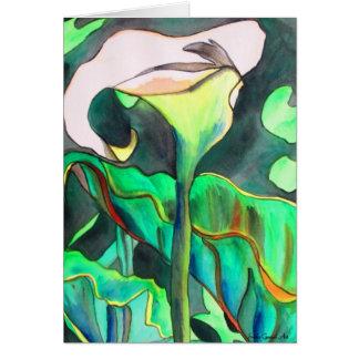 Pintura original del arte de la acuarela del lirio tarjeta de felicitación