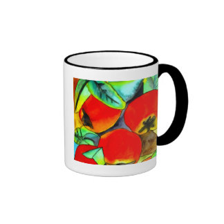 Pintura original del arte de la acuarela roja de l taza de café