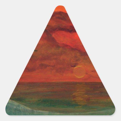 Pintura original del arte de la Florida del placer Pegatina Triangular
