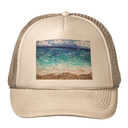 Pintura original del arte del océano del paisaje d gorras