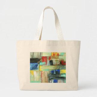 Pintura original del arte del paisaje urbano bolsa tela grande
