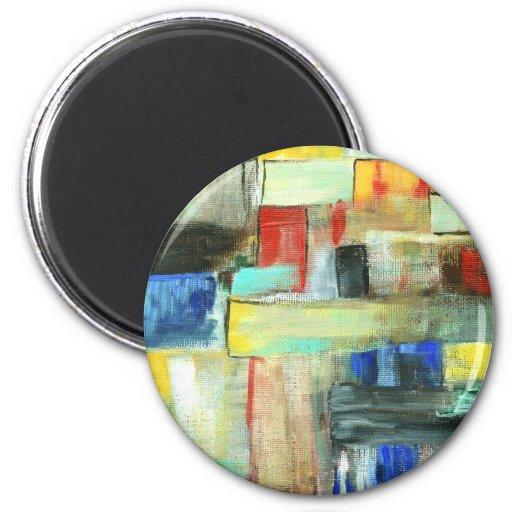 Pintura original del arte del paisaje urbano imán redondo 5 cm