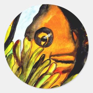 Pintura original del arte del payaso de la etiquetas redondas