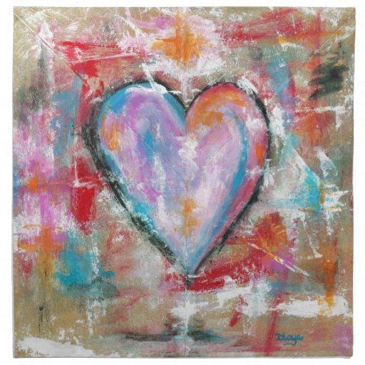 Pintura original del corazón imprudente del arte servilleta imprimida
