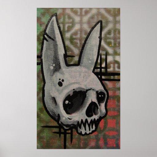pintura original del cráneo del conejo póster
